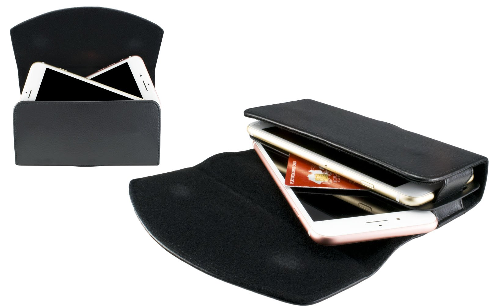Premium Cell Phone Dual Case Pouch Double Decker Fits Two iPhone Xs Max, 8 Plus, 7 Plus, 6 Plus, 6S Plus with Ultra Thin Case/No Case/Similar (Each Phone Measuring 159 x 80 x 9mm or Less) by VOTEC (Image #3)