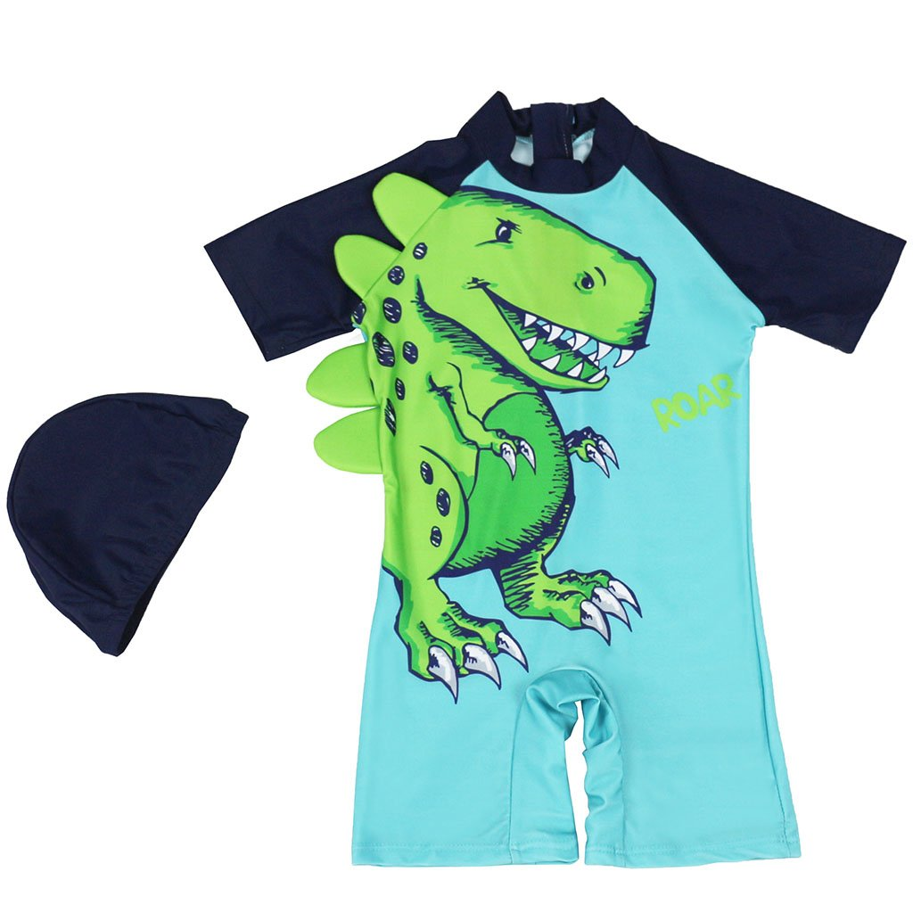 Gogokids Baby Boys One Piece Swimsuit - Kids Short Sleeves Swimwear Cartoon Dinosaur SDW Trading Co. TLD