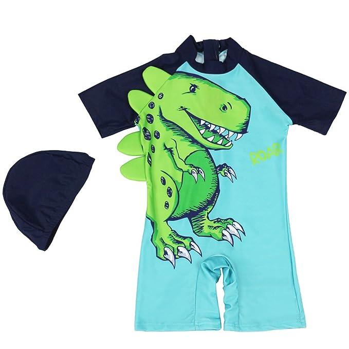 19a23ade46a6 Bebé Niños Shorty Traje de Baño - Infantil Una Pieza Ropa de Natación Manga  Corta Ropa de Baño Dinosaurio