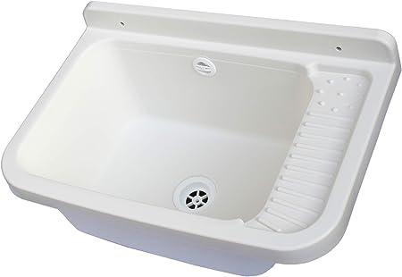50x35x24 in Resina da Esterno Bianco Adventa Lavandino-Pilozzo a Muro con Dispenser Porta-Sapone