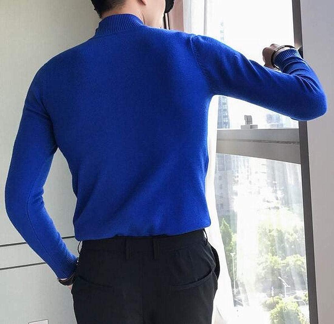 Fensajomon Men Solid Color Turtleneck Casual Regular Fit Knit Stretchy Pullover Sweater Jumper