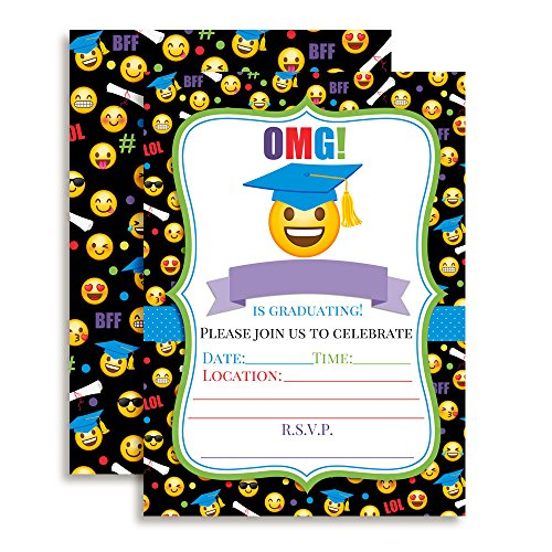 Colorful Emoji Graduation Party Fill in Invitations Set of 20 with envelopes. (School Party Graduation Invitations High)