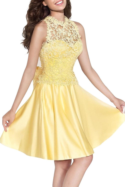 Charm Bridal 2016 Yellow Satin Lace Short Junior Girl Cocktail Homecoming Dress