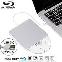 External Blu Ray DVD Drive Burner Player USB3.0 Portable Slim Automatic Slot-Loading CD/DVD-RAM/BD-ROM Superdrive +/- RW Rewriter/Reader with High Speed Data for Laptop Windows Mac OS (USB3.0 Type-A)