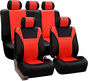 FH Group FH-PU003115 Racing PU Leather Car Full Set Seat Covers, Airbag Ready and Split, Tangerine/Black Color - Fit Most Car, Truck, SUV, or Van