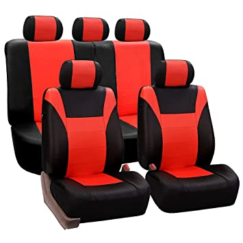 FH Group PU003TANGERINE115 Red Racing Style Faux Leather Seat Cover Full Set Airbag Compatible And