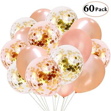 Amazon.com: Tooluu 60 globos de oro rosa, confeti, globos de ...