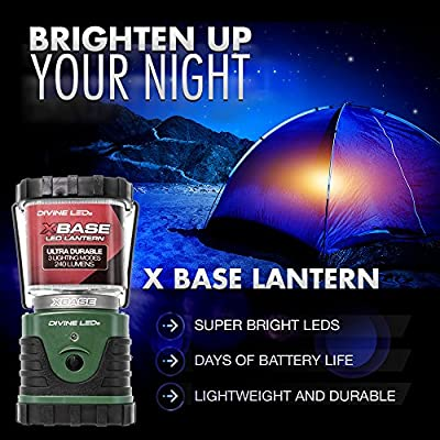 [Super Bright] LED Lantern - Best Seller - Camping Lantern - Multiple Modes - - Suitable for: Hiking, Camping, Emergencies, Hurricanes, Outages - Super Bright - Lightweight - Water Resistant - Black and Green - X Base- Divine LEDs