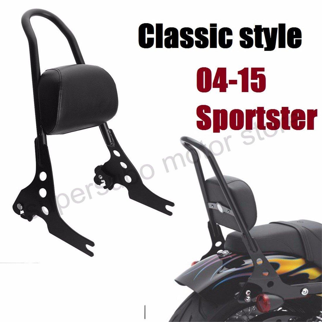 Moto Passeggero harley Schienale sportivo harley sissy bar Cuscino ammortizzatore per Harley Sportster XL883 1200 48 04-15 nero
