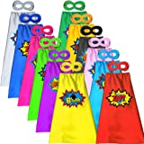 ADJOY 12 Sets of Kids Superhero Capes and Masks with Large Superhero Stickers - Super Hero Costume for Parties - Mixed Colors