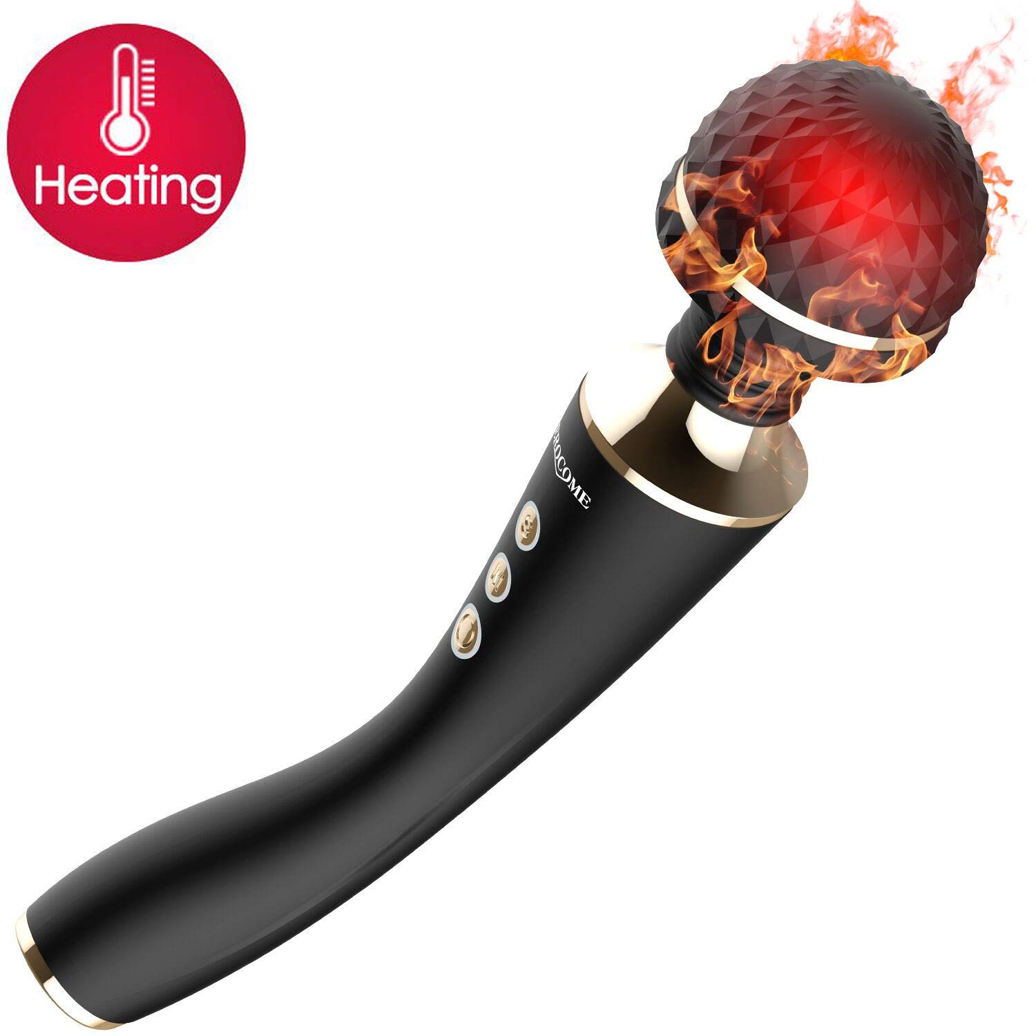 Heating Wand Massager with Flexiable Head 5 Speeds 10 Vibration Modes for Relaxing Tissue Muscles of Neck Shoulder Back, EROCOME Powerful Electric Body Handheld Massager Great Gift for Women/Men