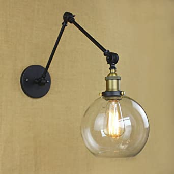 BAYCHEER HL422683 Industrial Vintage Style Adjustable Swing Arm Globe Wall Sconce Light Lamp With Clear