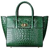 PIFUREN Fashion Women Handbags Leather Crocodile Purse Top Handle Satchel Bags C68732L(Green)