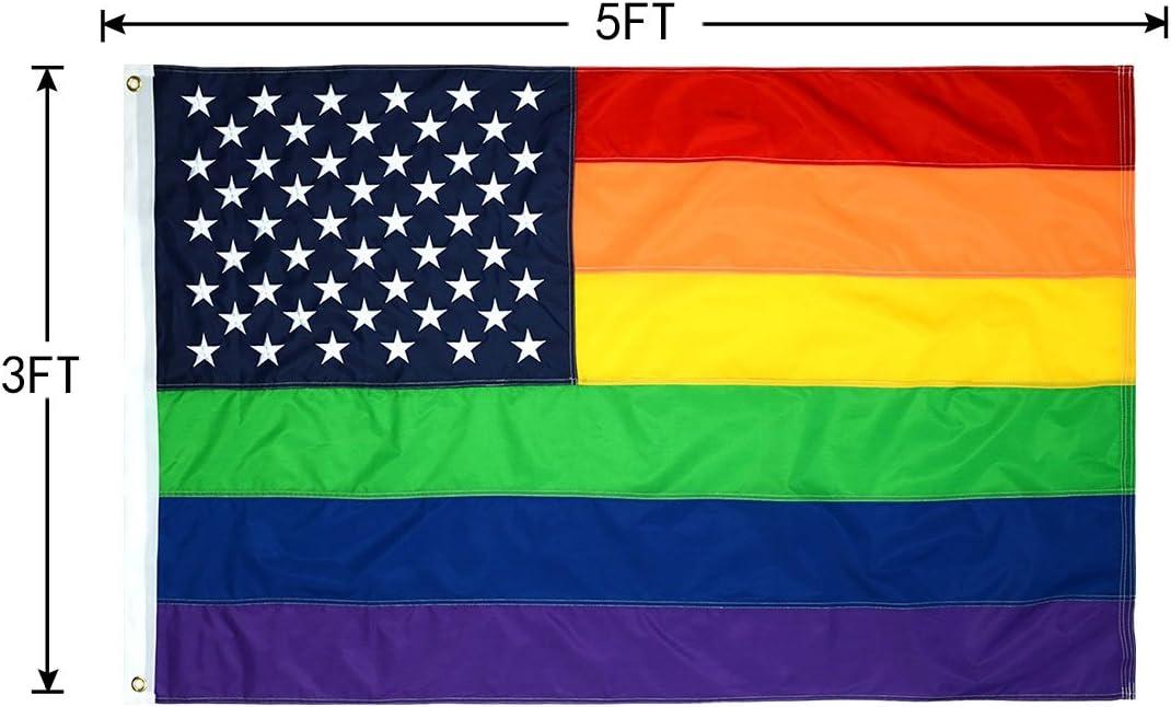 Rainbow LGBTQ Gay Pride Original 8 Stripe 5/' x 3/' Flag