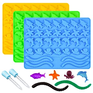 Gummy Molds Hard Candy Molds - Candy Molds Silicone Including Worms, Starfishs, Dolphins, Octopus, Sharks Sea Mold BPA Free, Pinch Test Approved Pack of 3 Ocean Molds