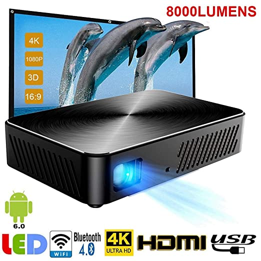 SEXTT Proyector Full HD, Android 6000Mah Batería 1920X1080p ...