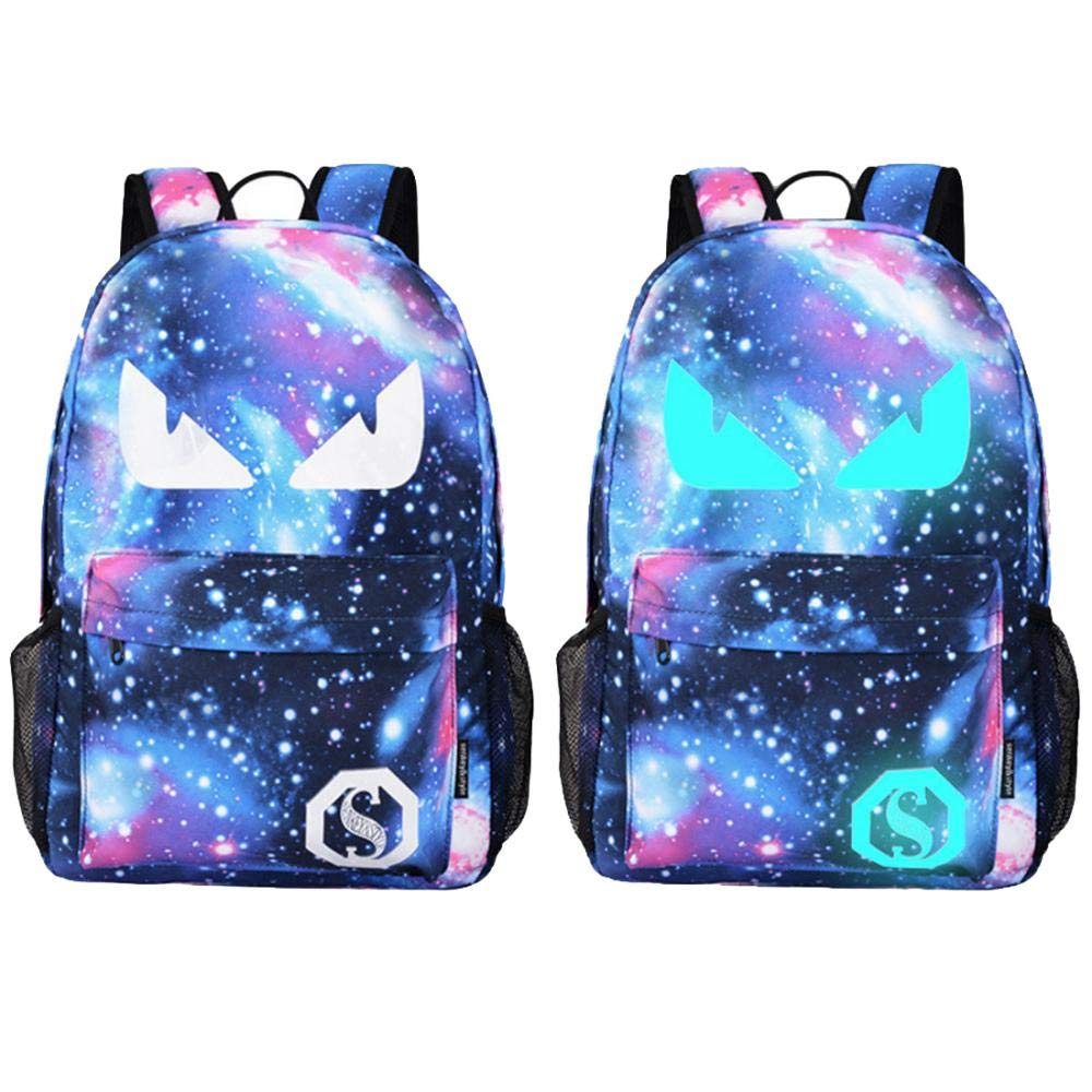 School Backpack Cool Luminous School Bag for Boys Girls Teens Large Galaxy Laptop Bag (Devil Eye)