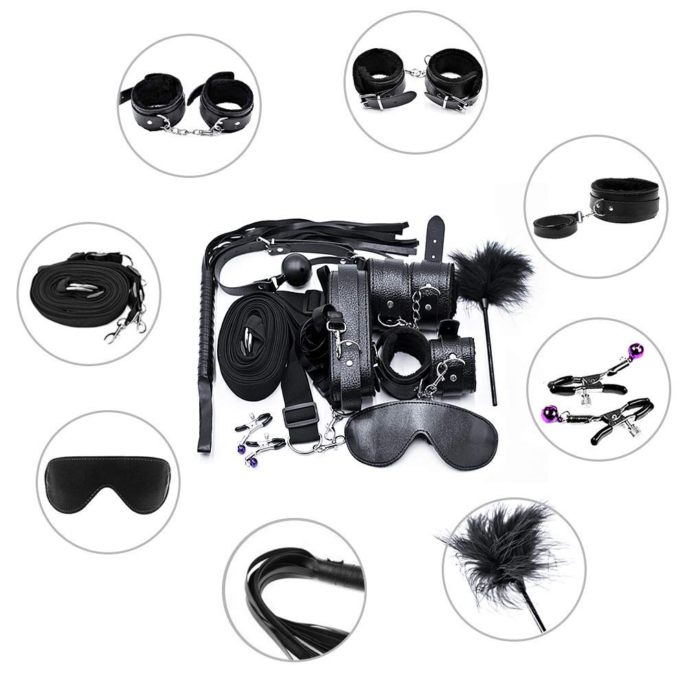 Restraints 11 Pcs BDSMS Bed Restraints Kits Sex Bondage Sets Toys Sex Things for Couples with Hand Cuffs Ankle Cuff Collar Leash Ball Gag Solid Leather Cross Strap Feather by WeDol
