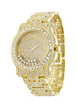 Buy Totally Iced Out Pave Floating Crystal Gold Tone Hip Hop Men s Bling  Bling Watch Online at Low Prices in India - Amazon.in a0889ccd0f