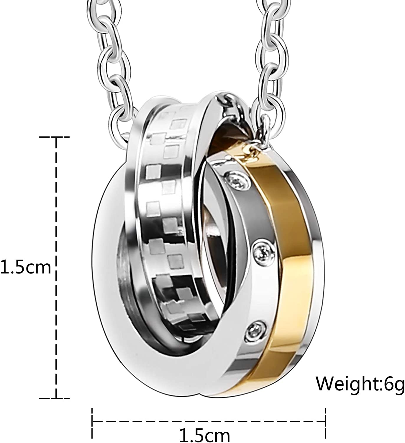 MoAndy Stainless Steel Jewelry Necklace Chain Circles DN151