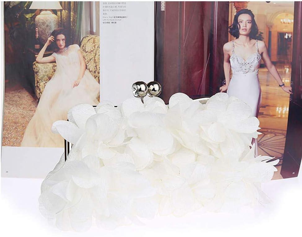 Pochette e Clutch da Donna Sacchetto cosmetico di Banchetto delle frizioni delle Donne di Sera delle Borse di Sera del Fiore di Seta della Signora (Color : Gray) White