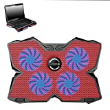 YuFLangel Laptop Heatsink Laptop Cooling Pad Four Fans 17 Inch (Color : Red)