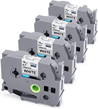 4Pk TZe241 18mm Black//White Compatible Brother P-touch Label Maker Tape