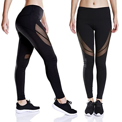 51ca6871ca563a Workout Sport Leggings High Waist Black Mesh Capri Yoga Pants with Pocket  for Women