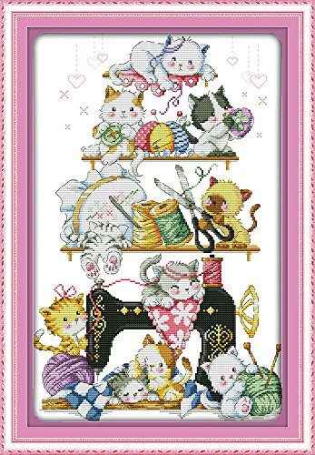 CaptainCrafts Hot New Cross Stitch Kits Needlecrafts Patterns Counted Embroidery Kit - Kitten Beside The Sewing Machine (STAMPED) Kitten Cross Stitch