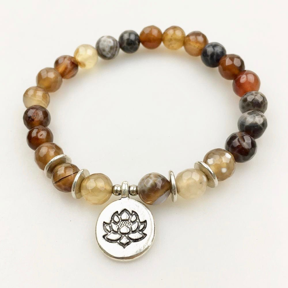 Fire Agate and Silver Bead Mala Bracelet with Lotus Flower Charm …