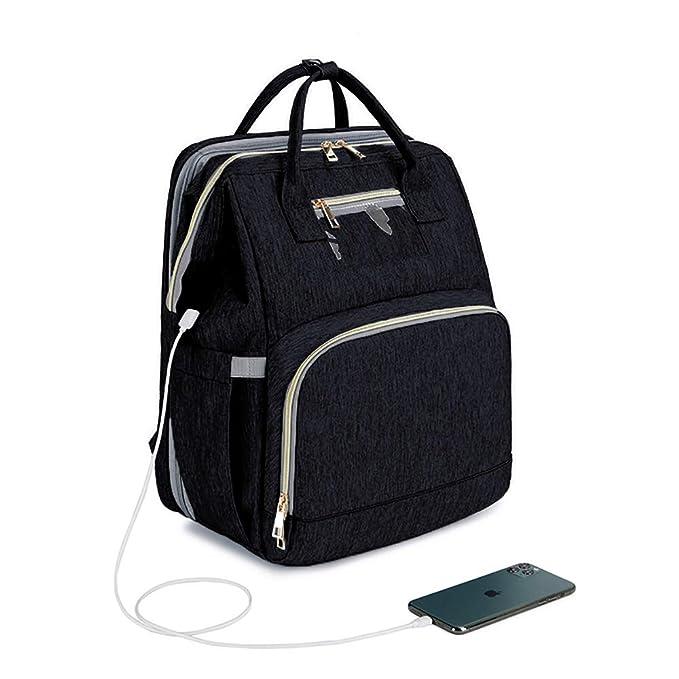 Mummy Backpack Hospital Bag Baby Changing Diaper Outdoor Waterproof Black