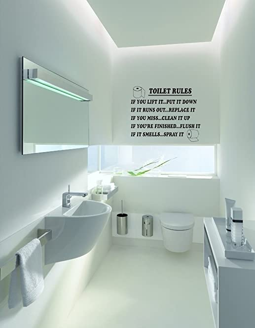 Toilet Rules Bathroom Art Wall Quote Stickers Wall Decals Bathroom  Decoration (SMALL, BLACK) Part 81