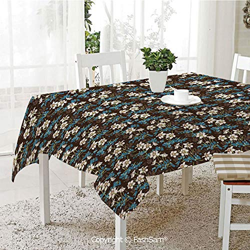 (FashSam Party Decorations Tablecloth Daffodils Cornflowers Pattern Nature Inspired Floral Bouquet Design Dining Room Kitchen Rectangular Table Cover(W60 xL84))