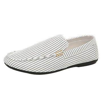WWricotta Hombre Zapatillas Lona para Andar Rayas Casual Cómodas Calzado de Planos Transpirables Zapatos Informales Bambas Zapatos para Perezoso Náuticos ...