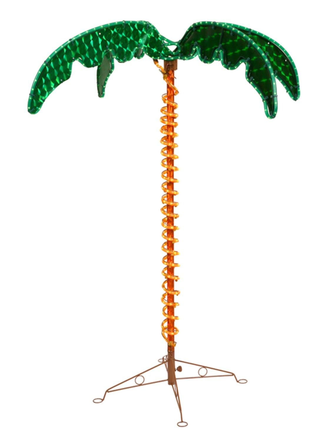 Vickerman 4.5' Deluxe Tropical Holographic LED Rope Lighted Palm Tree with Amber Trunk