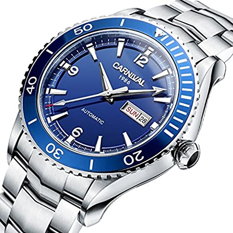 Men's Automatic Mechanical Watch Black Dial Ceramic Bezel Sapphire Glass Waterproof Stainless Steel Watch (Swiss Mechanical Automatic)