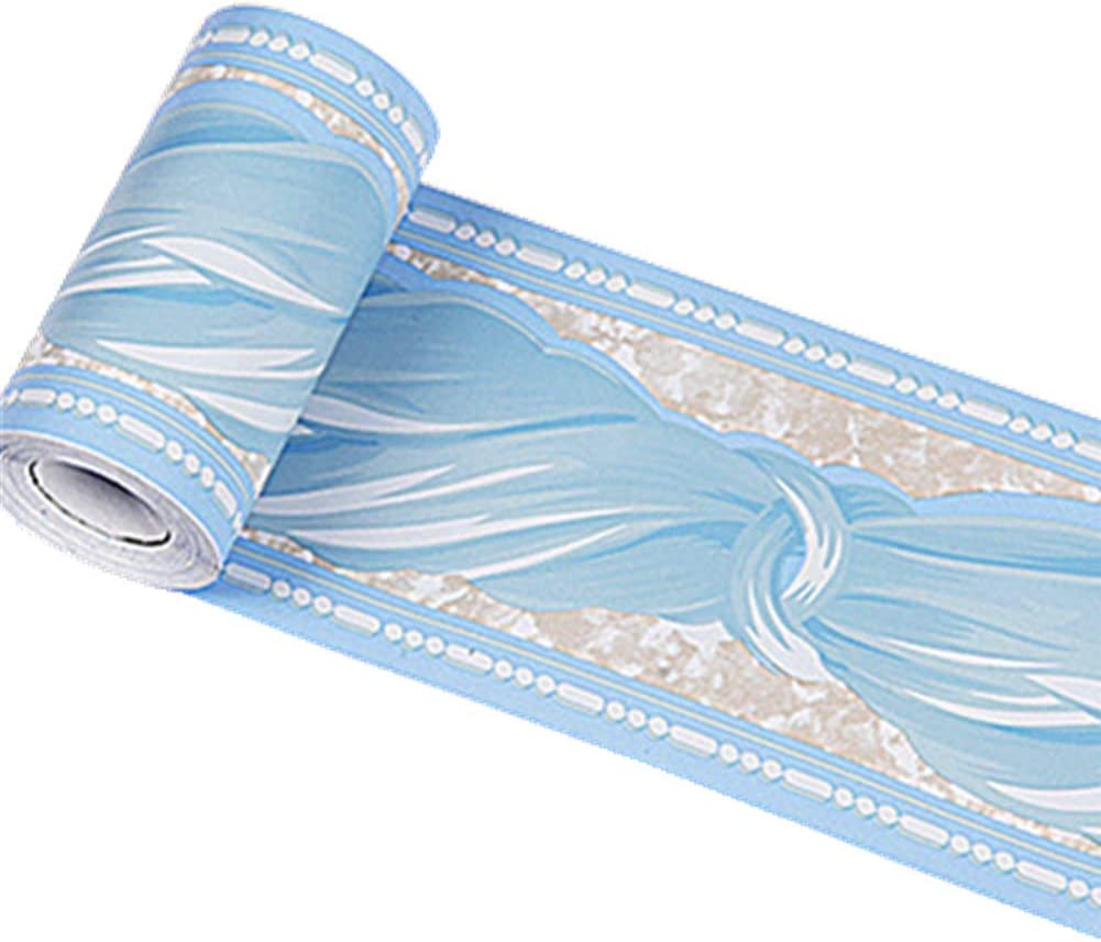 Taamall Simplemuji Self Adhesive 10Meters Blue Bowknot PVC Wallpaper Border Peel and Stick Wall Borders for Kitchen Bedroom Living Room Home Decor Wall Stickers