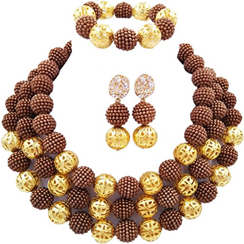 laanc Womens Fashion Gold Plated 3 Rows Nigerian Beads African Wedding Bridal Jewelry Sets (Brown) ()
