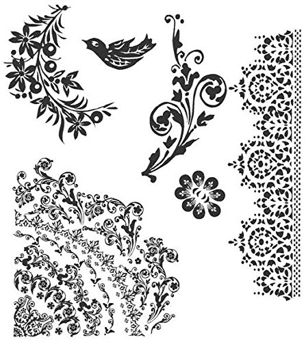 Tim Holtz Cling Stamps 7'X8.5'-Floral Tattoo