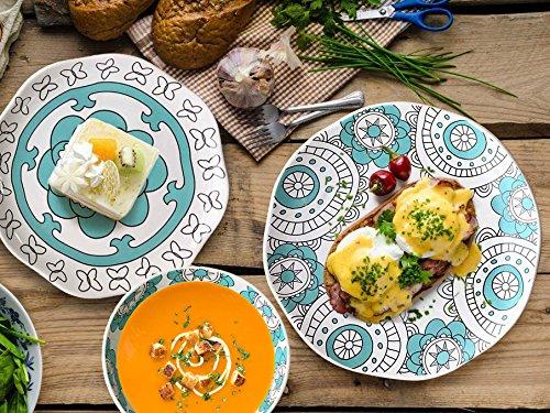 Dinner Plates Appetizer Salad Plate Set 4, Porcelain Mint Blue, Floral Pattern, Accent Serving Plates by LA JOLIE MUSE (Image #5)