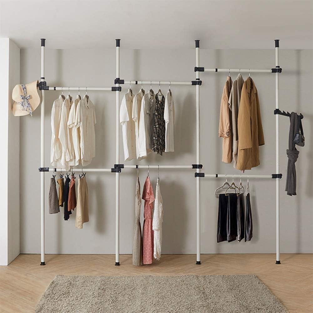 para colgar ropa Perchero telesc/ópico de acero resistente con 2 ganchos 3 Poles 4 Bars
