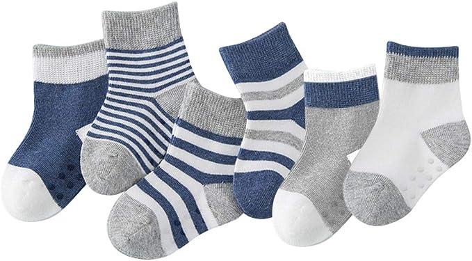 Yoofoss Calcetines para bebés Calcetines antideslizantes para niños pequeños 6 pares de calcetines antideslizantes de algodón para bebés y niñas: Amazon.es: Ropa y accesorios