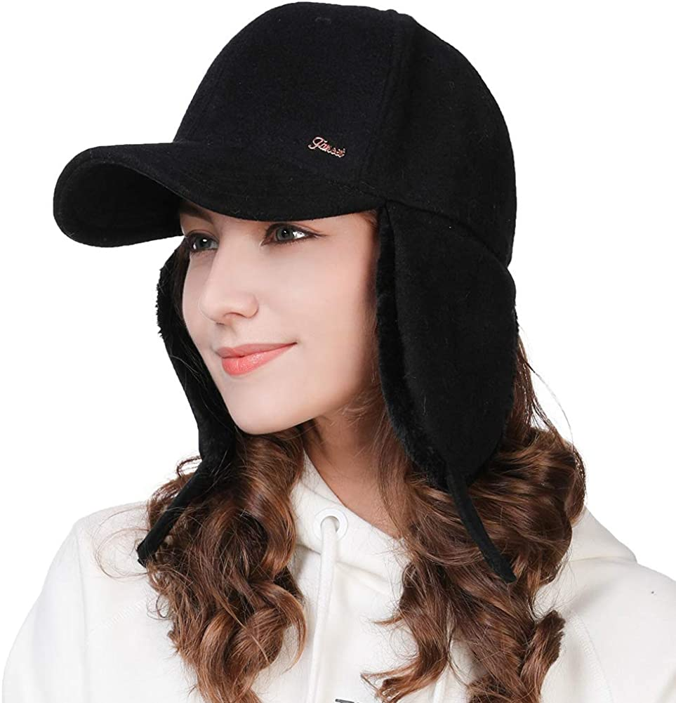 Fur Earflap Corduroy Baseball Cap Women Girl Kid Elmer Fudd Trapper Hats Winter 53-60CM: Clothing