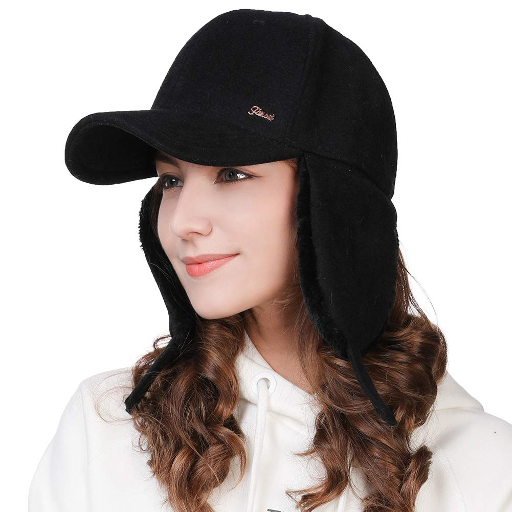 dcf2c5dcd9f6d5 Winter Trapper Hat for Women Wool Baseball Cap with Ear Flaps Elmer Fudd  Hat Fur Hunting Snow Cold Weather Black