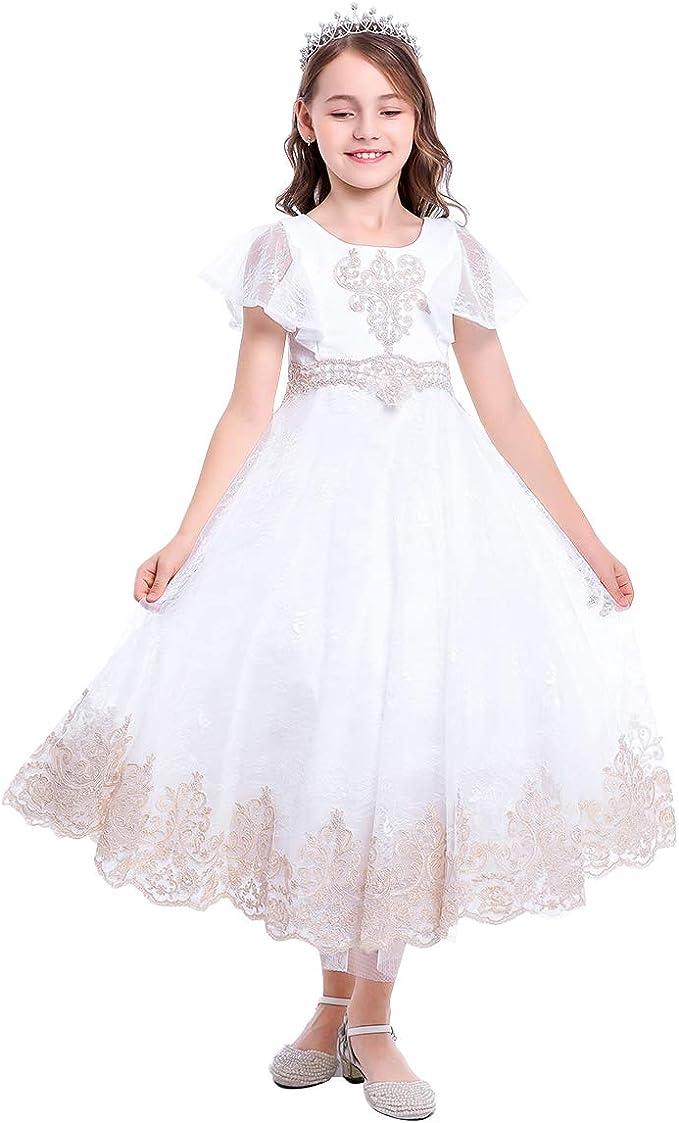 Vestiti Cerimonia Bambina 9 Anni.Obeeii Abito Da Prima Comunione Per Bambina In Tulle Con