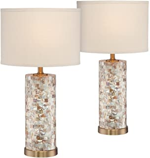 Kylie Mother Of Pearl Tile Vase Table Lamp Set Of 2 Amazon Com