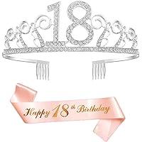 Feliz Cumpleaños 18th,18th Plata Cristal Tiara Corona de Cumpleaños, Banda de Satén Brillante Rose Gold 18th Birthday…