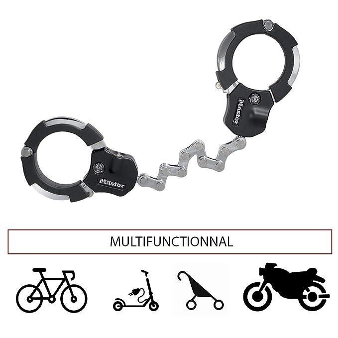 MASTER LOCK Antirrobo Bloqueo [Acero Reforzado Laminado] [55cm] 8290EURDPRO - Candado de Bicicleta, Patinete Electrico, Carros Bebe