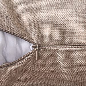 "HOME BRILLIANT Burlap Decorative Throw Pillow Euro Sham Pillowcase Cushion Cover, 26""x26"", Light Linen"