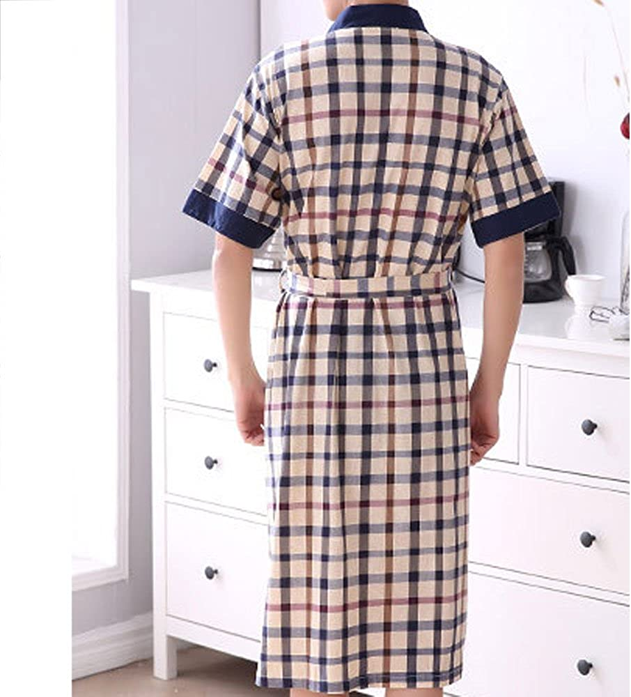 HIENAJ Mens Thin Cotton Plaid Kimono Robes Shawl Collar Lightweight Spa Sleep Bathrobe